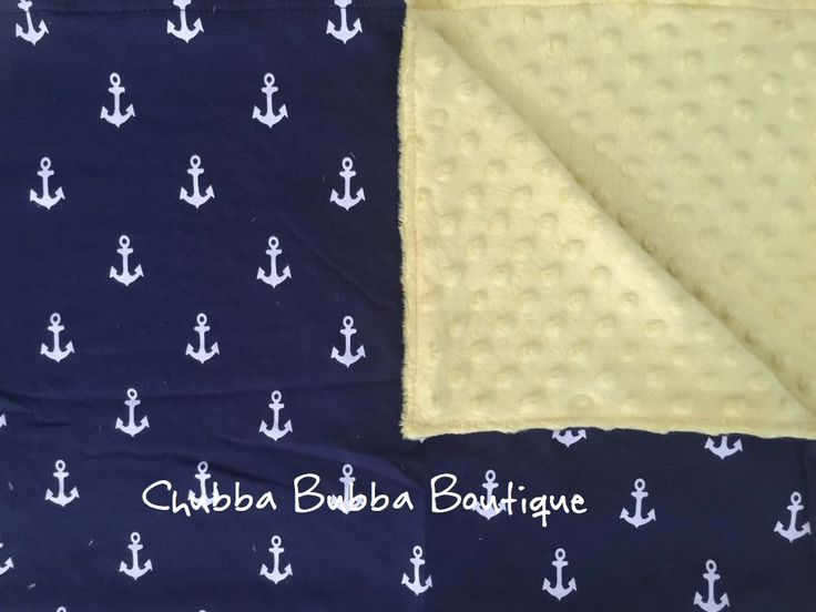 These are Adorable Soft Blankets They are sooo soft With reversable Navy Anchor Print   on one Side and Yellow Microfibre on the other, 77cm x 77cm   **Please Email Order Number and First Name Embroidery Request to info@chubbabubbaboutique.com Immediately after payment**