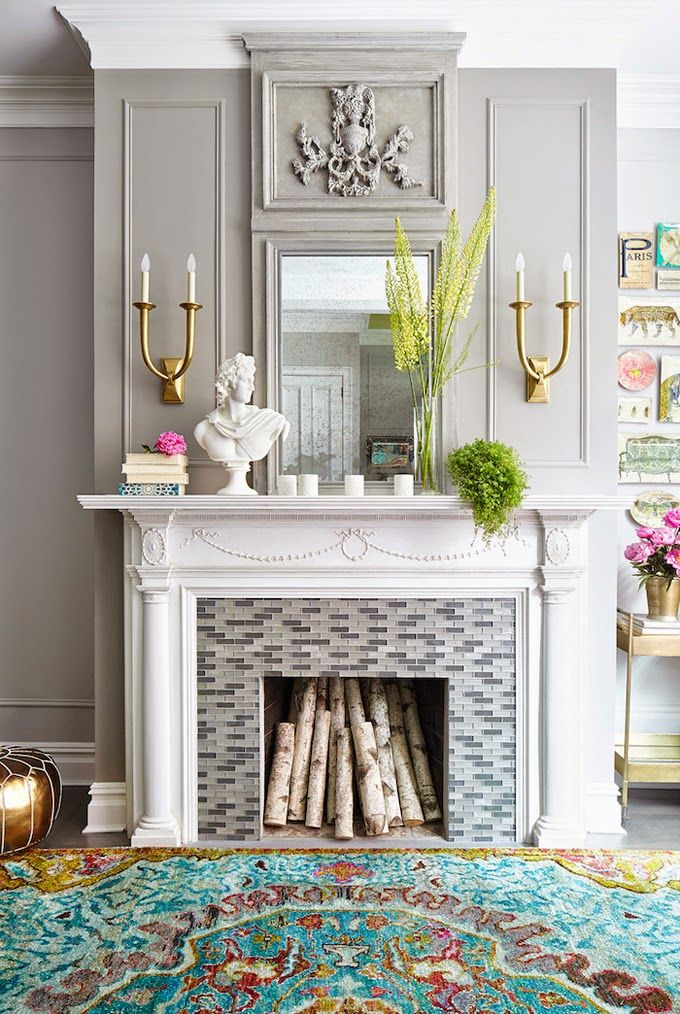 Fireplace Mantel Decorating Ideas Combined With Wall Color Grey
