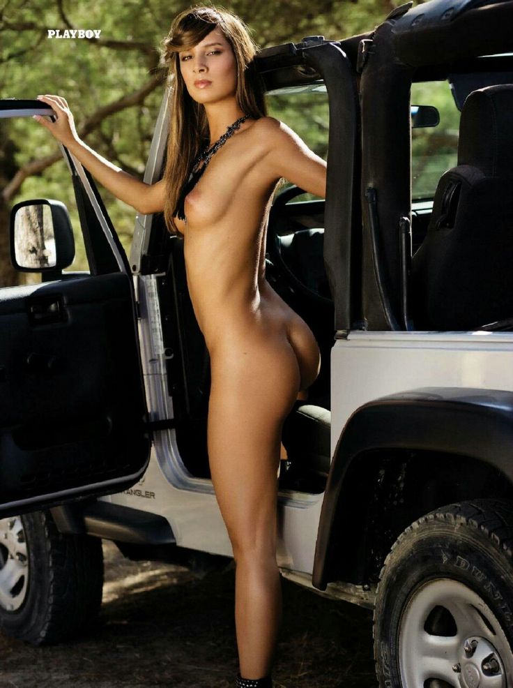 naked woman in a jeep