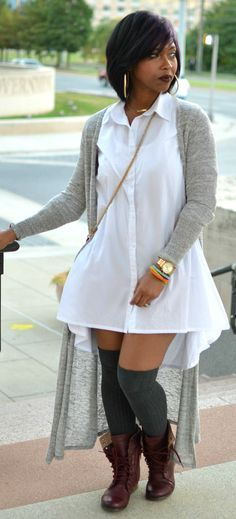 Shirt Dress - White Button Up - Fall 2014