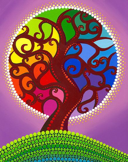 rainbow orb twisted tree by Elspeth McLean  Like a stained glass window, this tree has an aura all the colours of the rainbow.  Original acrylic on canvas, 2010