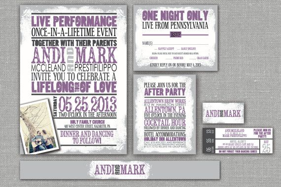 "buy designer shoes online from china Printable Wedding Invitation, RSVP, Info card, Monogram with Vintage Concert Poster Design - Rustic Purple, Custom design - ""Retro Romance"" 