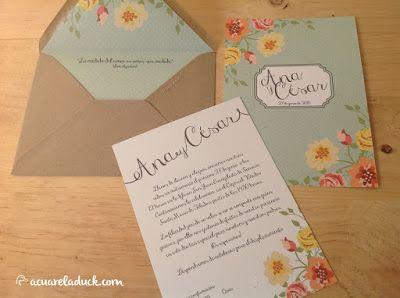 Invitaciones de boda flores. Invitaciones boda verde mint. Invitaciones primavera.