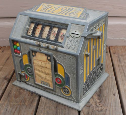 ANTIQUE-Vintage-Deco-Pierce-Hit-Me-Trade-Stimulator-Coin-Op-Penny-Game-Machine | a2v