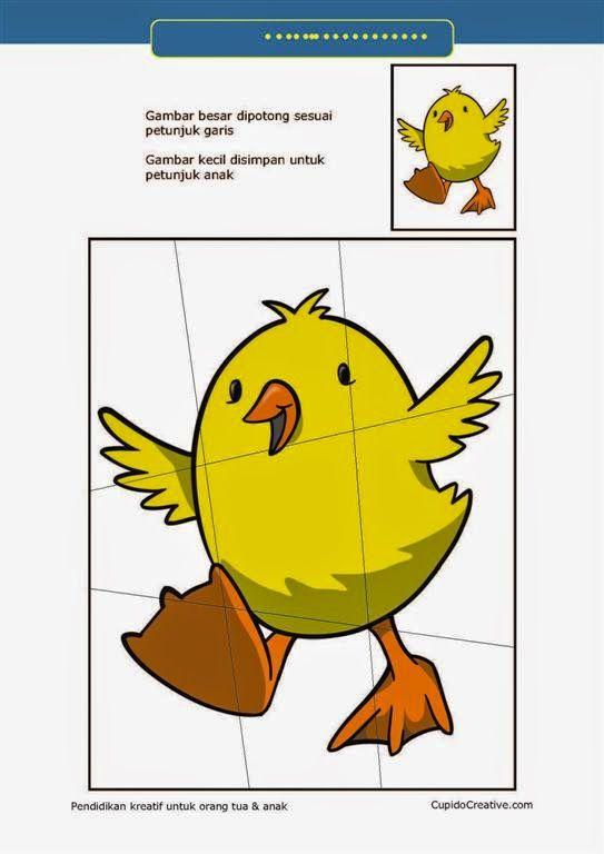 kerajinan gunting tempel PAUD (balita/TK) : buat sendiri puzzle anak ayam