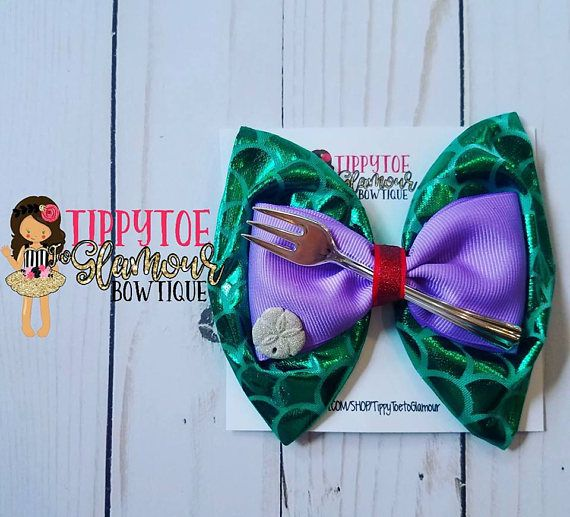 Hey, I found this really awesome Etsy listing at https://www.etsy.com/listing/526110708/mermaid-hair-bow-fork-bow-scales-purple