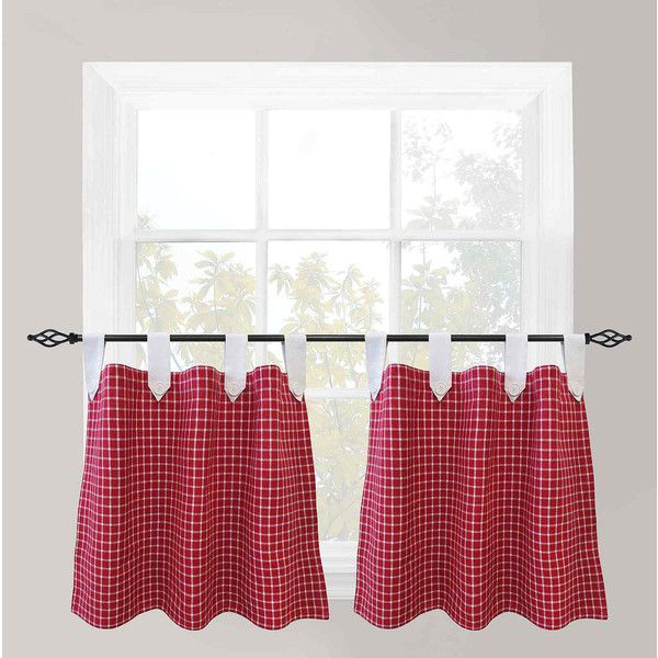 ($40) ❤ Liked On Polyvore Featuring Home, Home Decor, Window Treatments,  Curtains, Park B Smith Curtains, Blue Gingham Curtains, Cafe Curtain ...