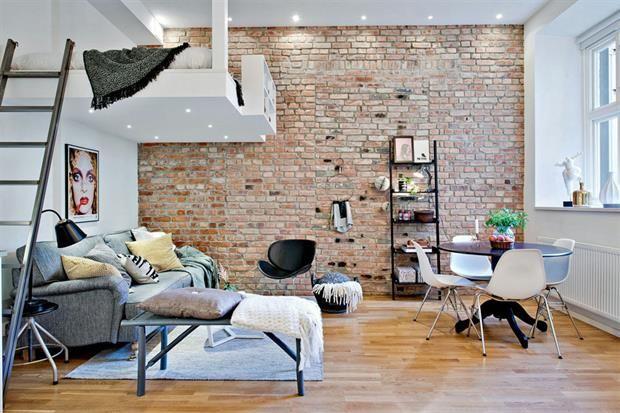 10 ideas para dividir tu monoambiente  Si la altura del techo lo permite, podés construir una plataforma que funcione como espacio de descanso.         Foto:Gravity-gravity.tumblr.com