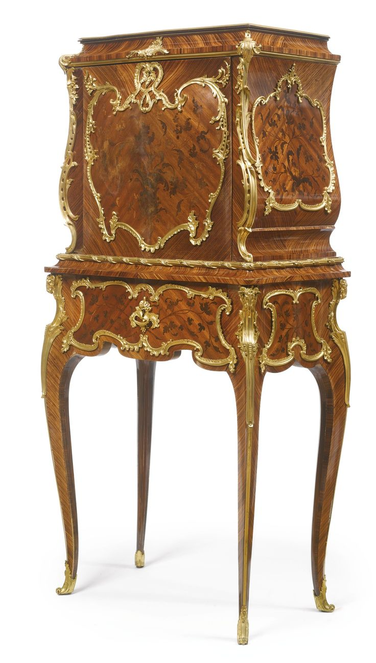Victorian carved rosewood center table w marble turtle top cottone - A Louis Xv Style Gilt Bronze Mounted Kingwood Satin And End Cut Floral Marquetry Secr Taire