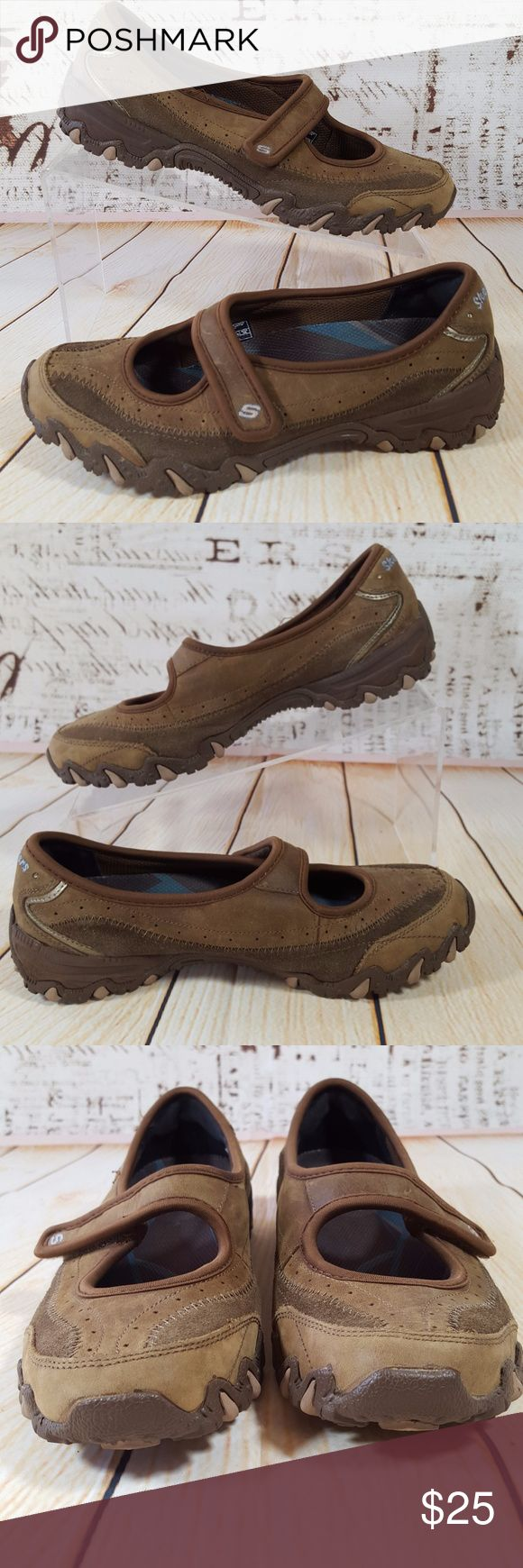 Mary Jane Ballet Flat Loafer Brown Nubuck Leather Nice pair of Skechers Mary Jane schoolgirl shoes  Two tone brown leather  Very gently worn  Women's size US 6.5 M  Style number 47118 Skechers Shoes Flats & Loafers