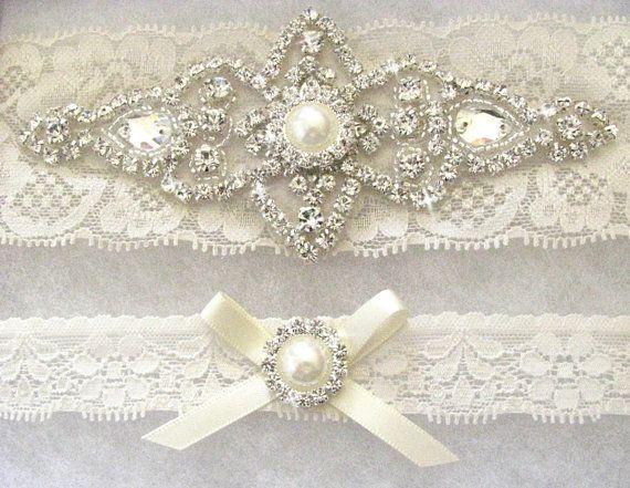 Ivory Bridal Garter Set Crystal Rhinestone By LoveForeverBridal