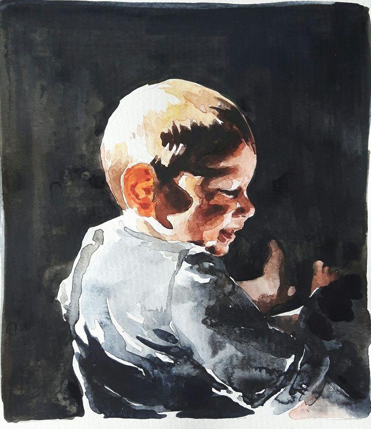 Akvarell, porträtt av liten pojke. // Watercolour portrait of baby boy. #watercolor #watercolour #portrait #art #akvarell