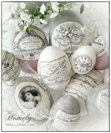 Decoupage Easter eggs, shabby chic