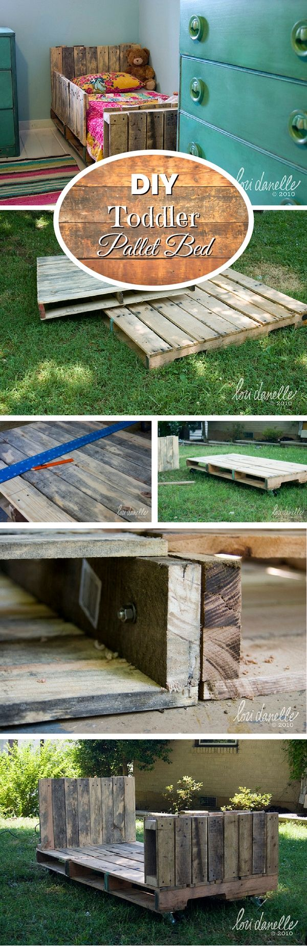 If you have toddlers in your family, this pallet bed is a great project to build something for them. This bed is quite easy to make from wood of just two pallets. Your kids will love the warm rustic theme in their room as well. Follow the tutorial for easy instructions
