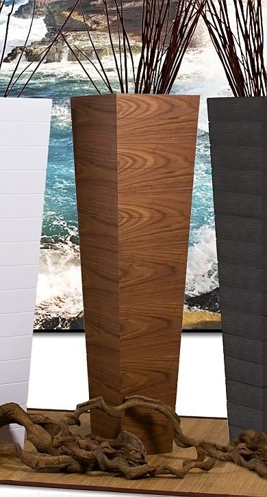 Tall Wood Floor Vase In Light Walnut Finish W Tapered
