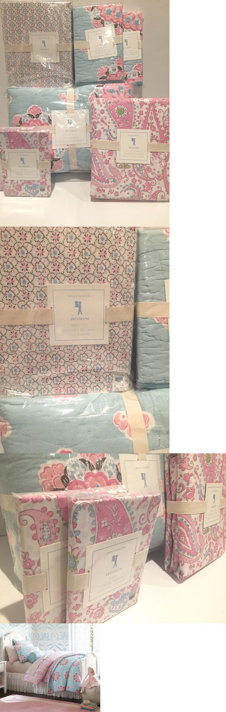 Kids Bedding: New Pottery Barn Kids Brooklyn Full/Queen Quilt, Shams, Sheets, Duvet, 10Pc Set BUY IT NOW ONLY: $399.95
