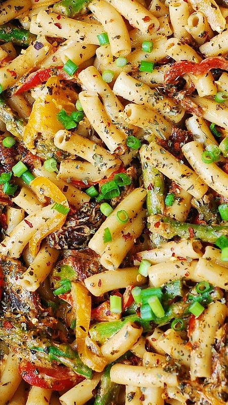 Penne Pasta Bell Peppers And Asparagus In A Creamy Sun
