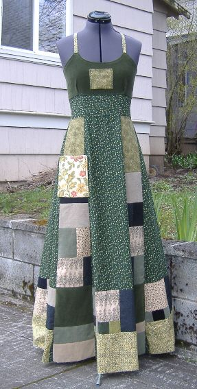 patchwork dress • same principle would make an interesting wrap-style maxi skirt