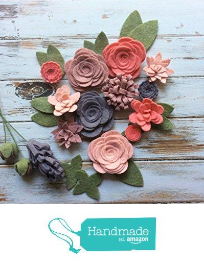 Wool Felt Fabric Flowers - Flower Embellishment - Large Posies - 17 Flowers & 14 leaves - Create your own Headbands, Wreaths from A Market Collection https://www.amazon.com/dp/B01KTO9HPK/ref=hnd_sw_r_pi_awdo_dlYRyb1CJ59SM #handmadeatamazon