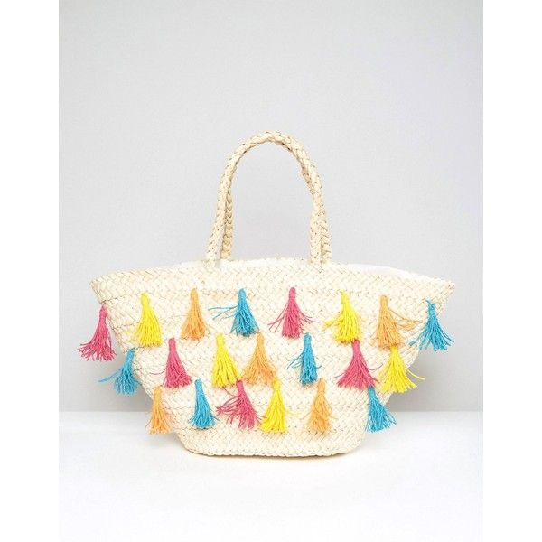 South Beach Straw Beach Bag With Coloured Tassels (49 AUD) ❤ liked on Polyvore featuring bags, handbags, multi, woven purse, white beach bag, multi color purse, straw handbags and tassel purse