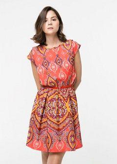 Satijnen paisley-jurk - Jurken voor Dames   MANGO