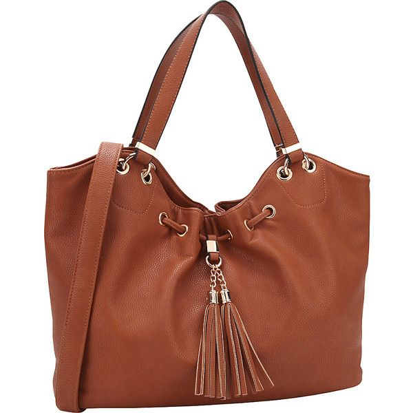 Dasein Drawstring Fringe Tassel Satchel - Brown - Satchels ($40) ❤ liked on Polyvore featuring bags, handbags, brown, vegan leather purses, brown satchel, satchel purses, brown handbags and tassel purse