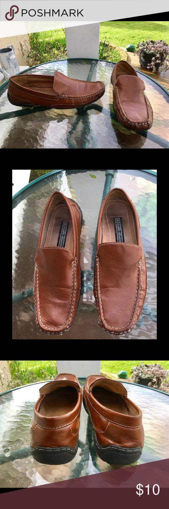 Stacy Adams Driving Loafers Men's size 10 medium. Brown faux leather slip on driving loafers/moccasins. Leather linings. A bit of bottom wear but nice & comfy! Stacy Adams Shoes Loafers & Slip-Ons