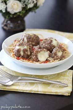 Mozzarella Stuffed Homemade Meatballs | Homemade, On sunday and ...