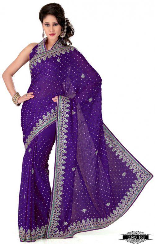 Dark Purple Color Satin Chiffon Bridal Saree TYS163. Sale: $227.05