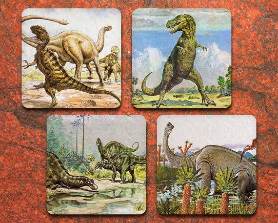 Dinosaur Coaster Set of 4 - Vintage Dinosaurs - Drink coasters