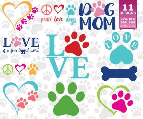 Download Dog Love SVG Bundle, Dog SVG, Heart Paw Print SVG, Dog Mom ...