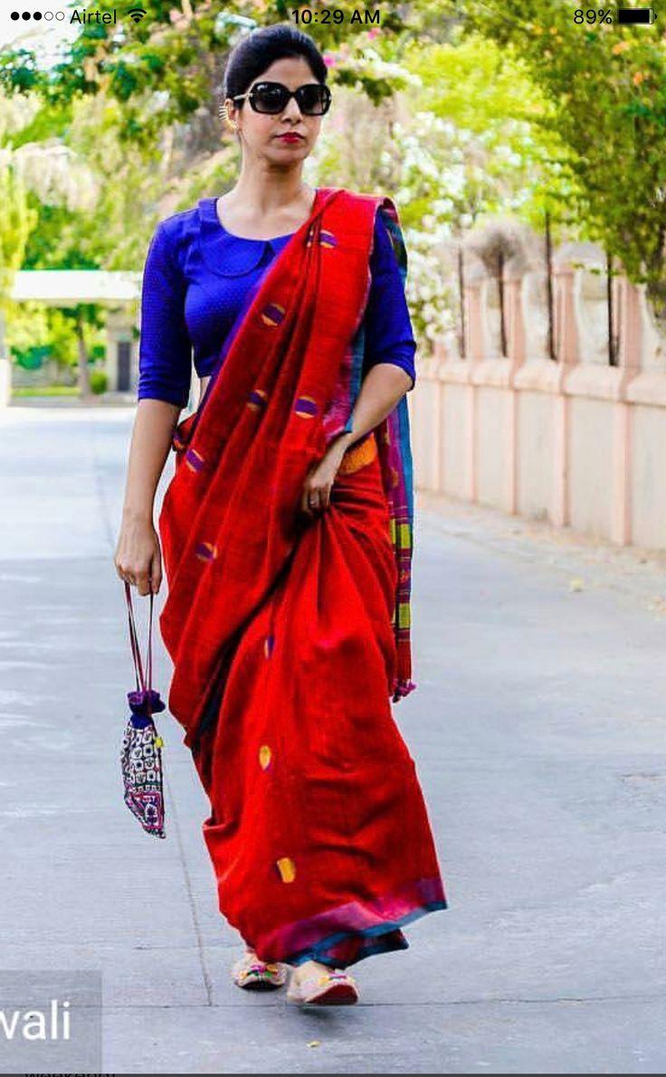 Striding in a sari