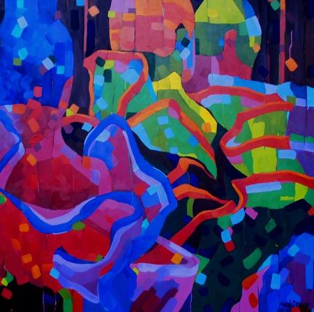 Mellissa  Read-Devine Joy - 2013 Acrylic on canvas 92 x 92 cm