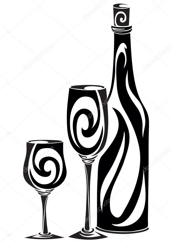 Download Royalty Free Silhouette A Bottle And Two Glasses Stock