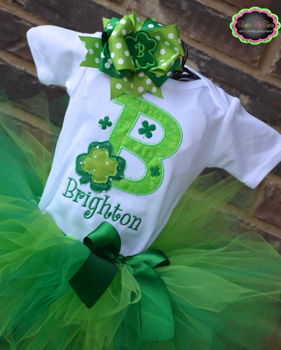 Shamrock Initial St Patrick's Day Tutu Outfit