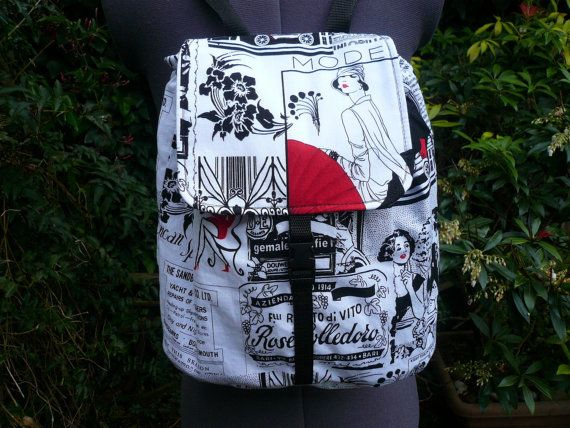 black and white newsprint backpack small. by dashAclothing on Etsy