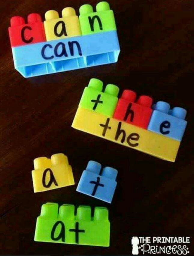 Love this idea for spelling- maybe do chalkboard vinyl and use 2 sides of megablocks (wide and narrow) to accommodate longer or shorter words