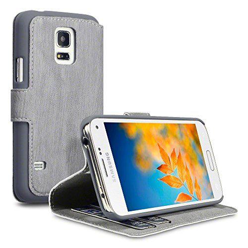 Samsung Galaxy S5 Mini Hülle, Terrapin Leder Tasche Case Hülle im Bookstyle mit Standfunktion Kartenfächer für Samsung Galaxy S5 Mini Grau