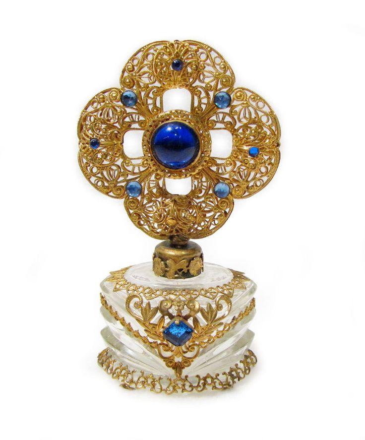 Vintage Czech Perfume Bottle Blue Jeweled Ornate Gold Filigree w/ Dauber #czech