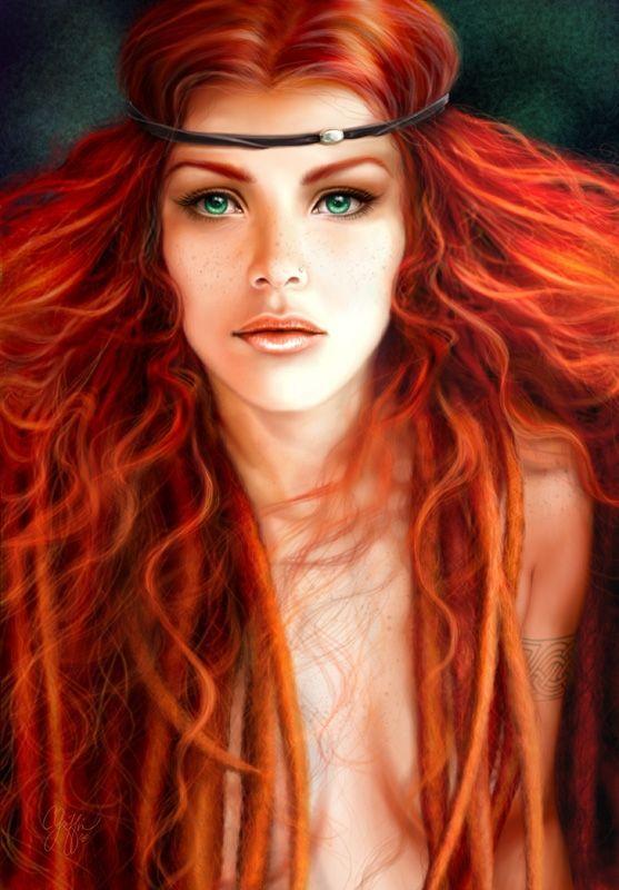 REAL WOMEN CELTIC WARRIOR w red hair green eyes Irish,Scottish