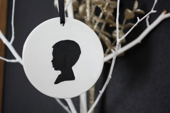 Custom Silhouette Ceramic Ornaments. Every year, my mom buys us ornaments with the hope that we will have a tree full of memories when we leave the nest. These are such a cute idea for the first few years!