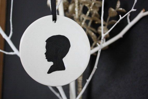 Custom Silhouette Ceramic Ornaments. $20.00, via Etsy.