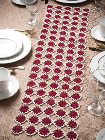 Crochet for the Home - Crochet Tablecloth & Table Runner Patterns - Free Crochet Pattern -- Garnet Roses Table Runner