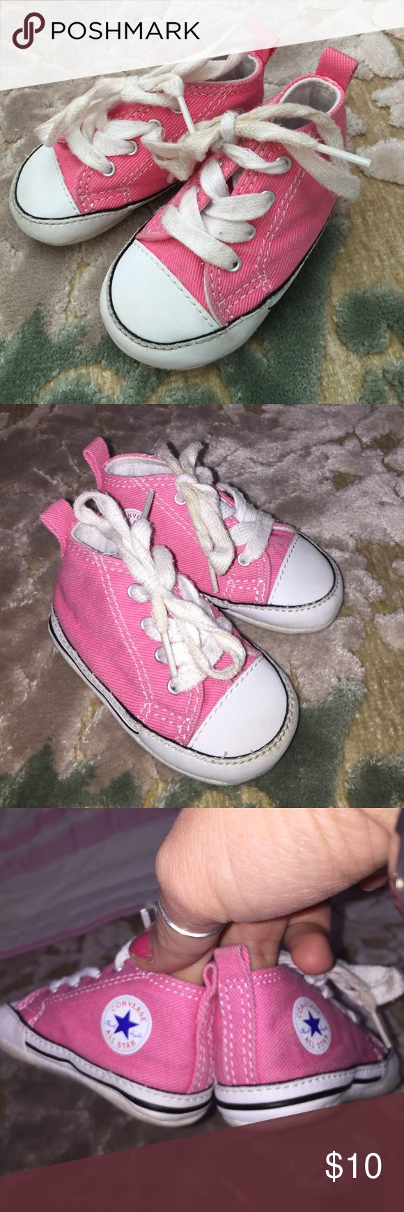 Pink Converse Baby girl, pink high top converse!! Lightly worn.. stylish with jeans, shorts or a tutu!!  Converse Shoes Sneakers