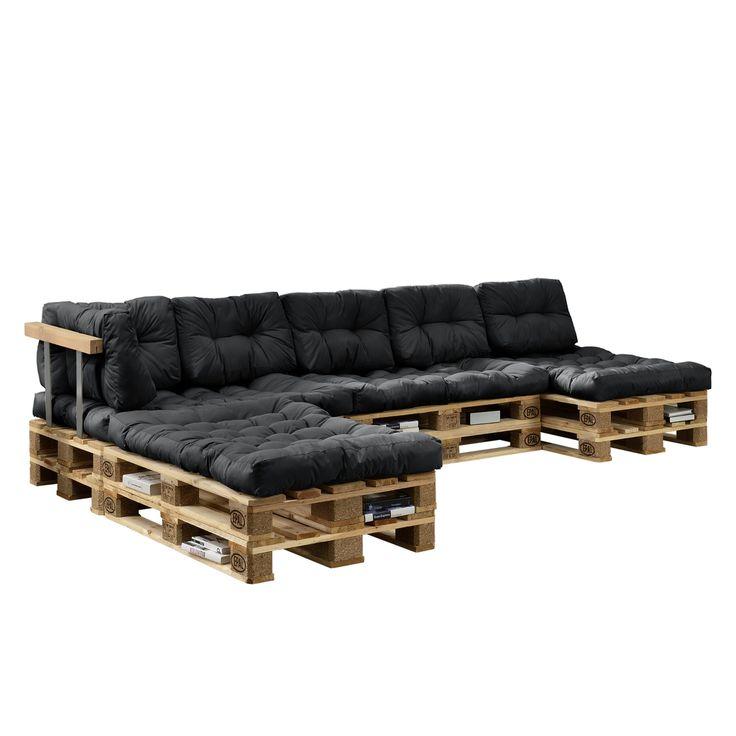 [en.casa] 'Euro Paletten Sofa' Auflage 4x Sitz- & 6x Rückenkissen Dunkelgrau Kissen