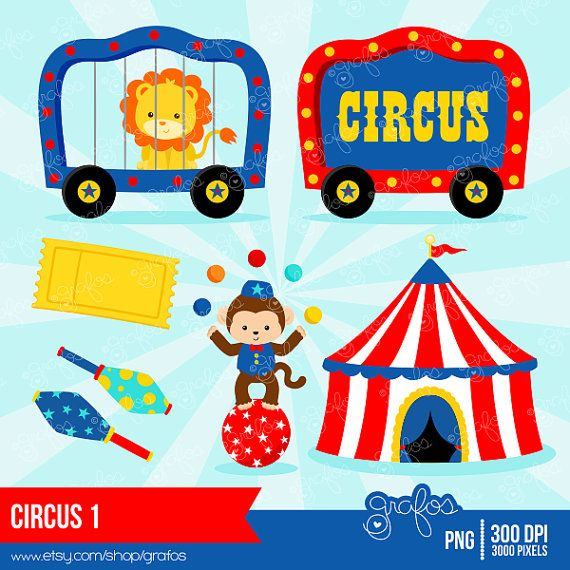 CIRCUS 1 Digital Clipart Circus Clipart Clown Clipart by grafos