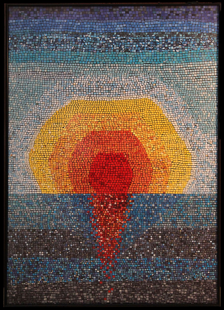 Sunrise, paper mosaic collage from magazine pages, 1 m X 70 cm, black metalic frame