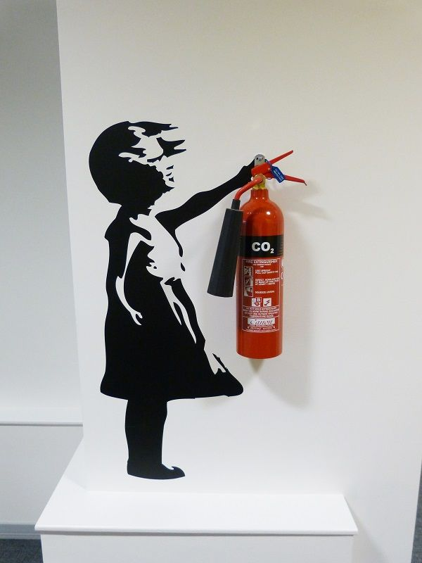 Banksy wall sticker fire extinguisher at People Source Bristol #bestplacetowork