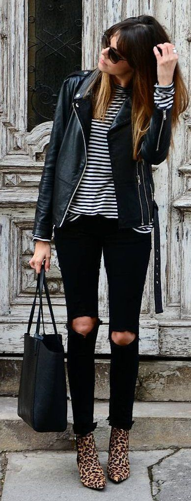 #winter #fashion /  Black Leather Jacket / Striped Top / Destroyed Skinny Jeans / Leopard Booties