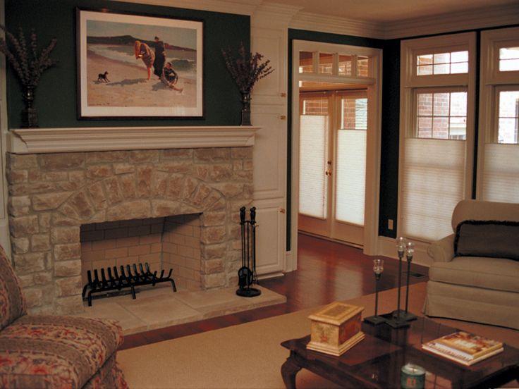 Stone Fireplace Against Dark Green Walls U0026 WHite Trim   Plan 055S 0002 |  Houseplansandmore
